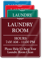 Custom Laundry Room Hours Showcase Wall Sign