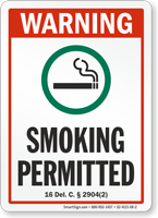 Delaware Warning Smoking Permitted Sign