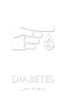 Diabetes Braille Sign with Finger Blood Drop Symbol