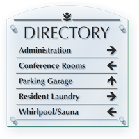 Directory With Directional Arrows Custom ClearBoss Sign