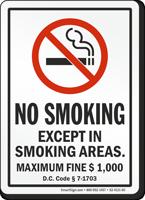 Washington DC No Smoking Except In Smoking Areas Sign