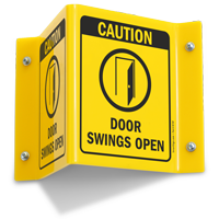 Caution Doors Swings Open Sign