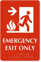 Emergency Exit Only, with Right Arrow Braille Sign