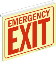 Glow Emergency Exit Z-Sign for Ceiling