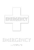 Emergency Braille Hospital Sign with First-Aid Plus Symbol