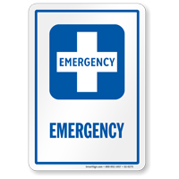 Emergency Hospital Sign with First-Aid Plus Symbol