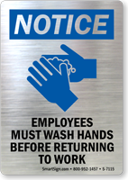 Employees Must Wash Hands Before Returning to Work
