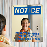 Employees Wash Hands Returning To Work Mirror Sign