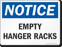 Empty Hanger Racks OSHA Notice Sign