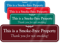 Smoke Free Property ShowCase™ Wall Engraved Sign