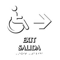Bilingual Exit, Salida, Right Arrow Braille Sign