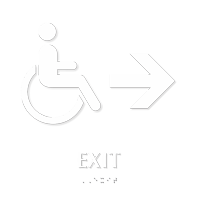 Exit, Right Arrow With Accessible Pictogram Braille Sign
