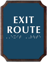 Exit Route Braille TactileTouch Wooden Plaque