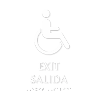 Exit, Salida Tactile Touch Braille Bilingual Sign