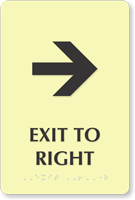 Exit To Right Door Sign