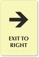 Exit To Right or Left TactileTouch Braille Arrow Sign