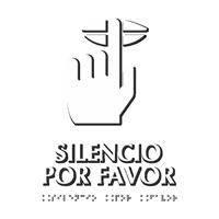 Silencio Por Favor Spanish TactileTouch Braille Sign