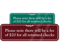 Fee Of $20 For Returned Checks Signs