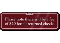 Fee Of $20 For Returned Checks Signs