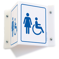Female & Accessible Pictograms Restroom Projecting Sign