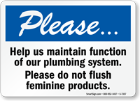 Please Do Not Flush Feminine Products Restroom Sign