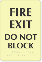 Fire Exit Do Not Block Glow Braille Sign