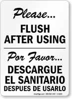 Bilingual Please Flush After Using Sign