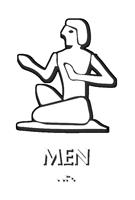 Folk Man Braille Restroom Sign