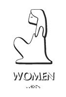 Folk Woman Braille Restroom Sign