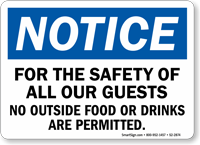 For The Safety Of All Our Guest OSHA Notice Sign
