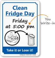 Fridge Clean Out Etiquette Sign