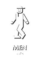 Bow legged Men's Bathroom Humor Sign