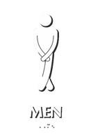Cross legged Men's Bathroom Humor Sign