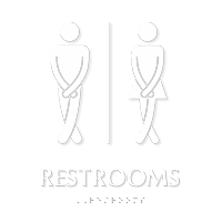 Cross legged Unisex Bathroom Humor Sign