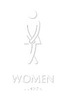 Cross legged Women's Bathroom Humor Sign