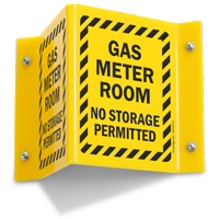 Gas Meter Room No Storage Projecting Sign
