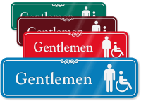 Gentlemen Male And Handicap Pictogram ShowCase Wall Sign