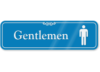 Gentlemen With Male Pictogram Restroom ShowCase Wall Sign