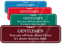 Gentleman Stand Closer Funny Bathroom Wall Sign