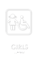 Girls TactileTouch Braille Sign with ADA Symbol