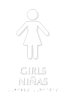 Girls Ninas Bilingual TactileTouch Braille Restroom Sign