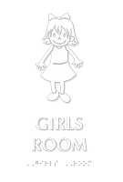 Girls Room Braille Sign With Girl Symbol