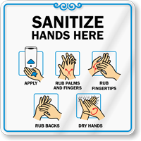 ShowCase Sanitize Hands Here Wall Sign