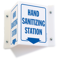 Hand Sanitizing Station with Down Arrow Projecting Sign
