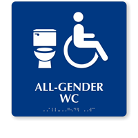 Accessible All-Gender WC Sintra Restroom Sign With Braille
