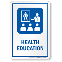 Health Education Sign with Health Educator Symbol