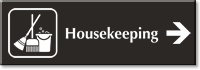 Housekeeping Engraved Sign with Right Arrow Symbol