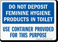 Feminine Hygiene Products Toilet Sign