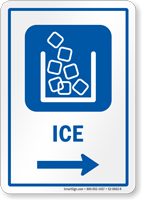Ice Right Arrow Hospital Sign