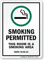 This Room Is A Smoking Area Sign
